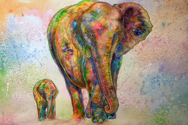 Morgo Art Print featuring the painting Elephant And Calf by Morgo Sladek