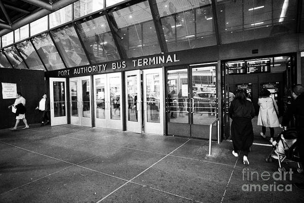 Port Authority Art Print featuring the photograph entrance to Port Authority bus terminal New York City USA by Joe Fox