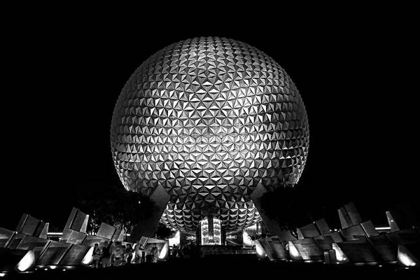 Disney Art Print featuring the photograph Epcot In Black And White by Guy Thompson