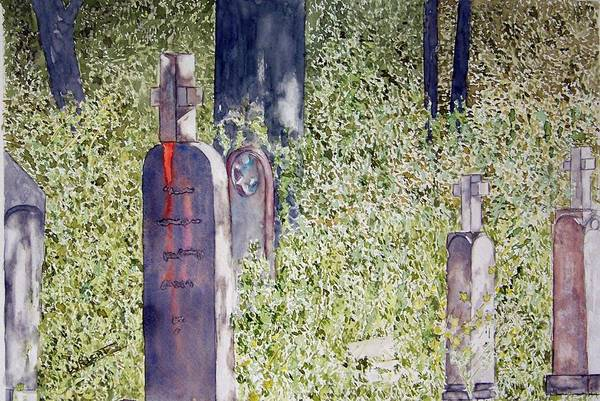 Cemeteries Art Print featuring the painting Eternity In Hoonah by Larry Wright