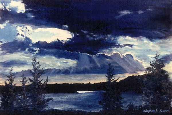 Landscape Art Print featuring the painting Evening Lake by Steve Karol