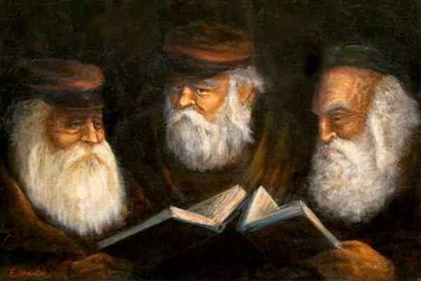 Praying Oldcountry Jewish  Men  Beards  Portraits  Books  Art Print featuring the painting Evening Prayers by Edward Farber