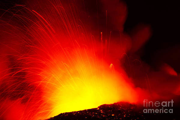 Active Art Print featuring the photograph Exploding Lava At Night by Peter French - Printscapes