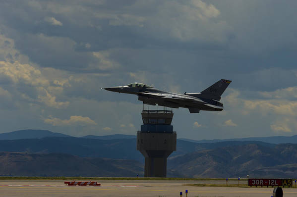 Art Print featuring the photograph F-16 And Tower by Brian Jordan