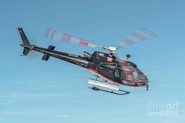 Eurecuil Art Print featuring the photograph F-gsdg Eurocopter As350 Helicopter In Blue Sky by Roberto Chiartano