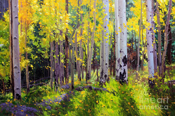 Aspen Tree Print featuring the painting Fall Aspen Forest by Gary Kim