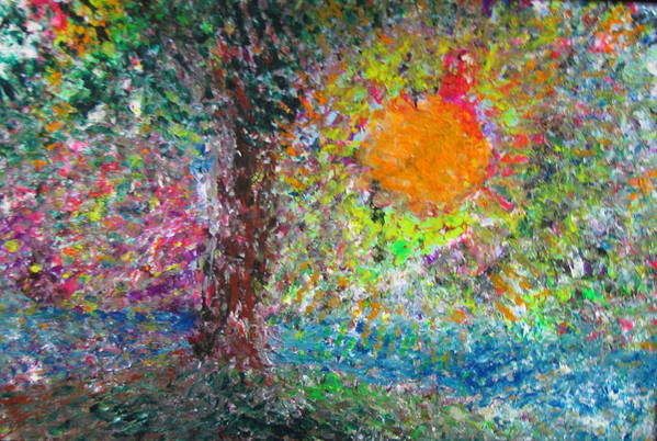 Playful Print featuring the painting Fall Sun by Jacqueline Athmann
