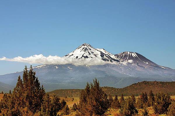Shasta Print featuring the photograph Family Portrait - Mount Shasta And Shastina Northern California by Christine Till