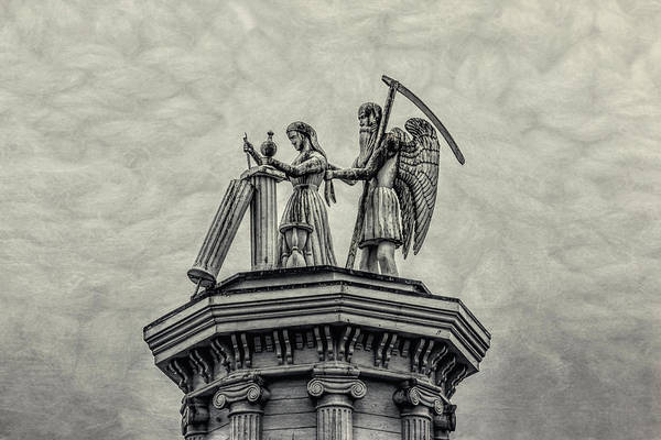 Statue Art Print featuring the photograph Father Time And The Maiden by Garry Gay