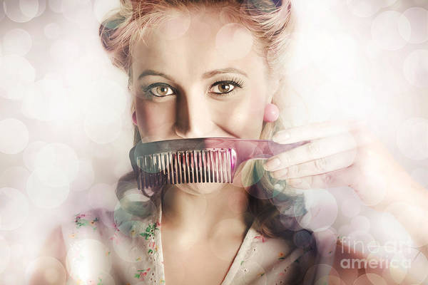 50s Art Print featuring the photograph Female Beauty Salon Hairdresser Creating Hairstyle by Jorgo Photography - Wall Art Gallery
