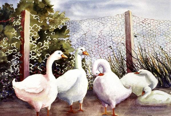 Animal Art Print featuring the painting Fenced In Quackers by Connie Williams