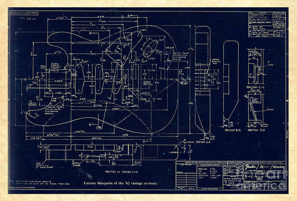 Fender stratocaster 1962 vintage body factory blueprint art print by fender art print featuring the digital art fender stratocaster 1962 vintage body factory blueprint by galambosi malvernweather Choice Image