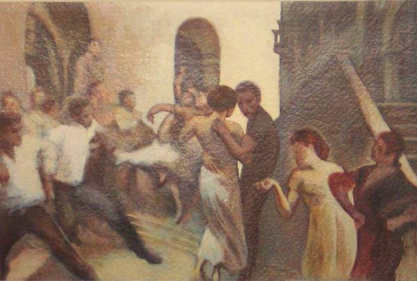 Dancing In The Street Art Print featuring the painting Fiesta Espanola by James LeGros