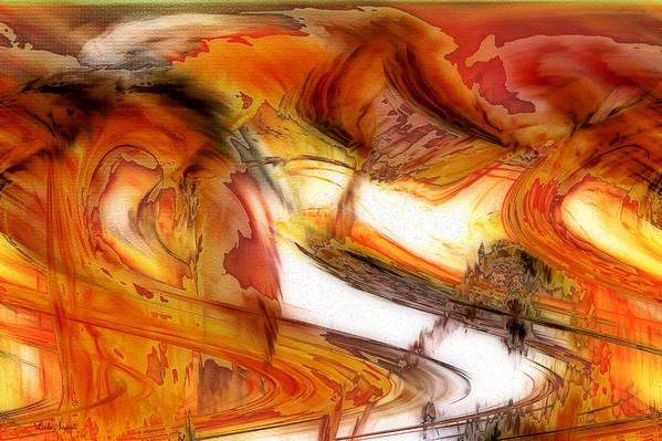 Abstract Art Art Print featuring the digital art Fire And Rain by Linda Sannuti