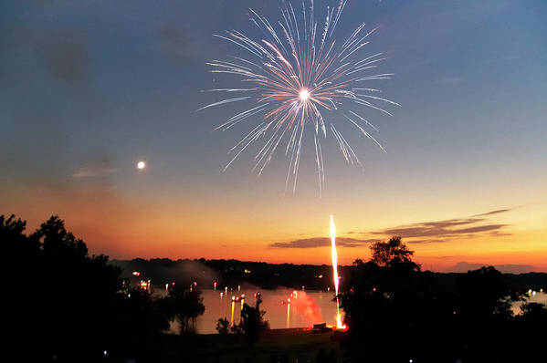 Fireworks Print featuring the photograph Fireworks And Sunset by Amber Flowers