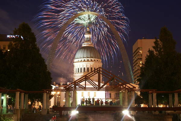 Saint Louis Art Print featuring the glass art Fireworks At The Arch 1 by Marty Koch