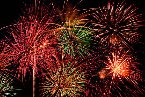 Fireworks Art Print featuring the pyrography Fireworks by Erik Watts