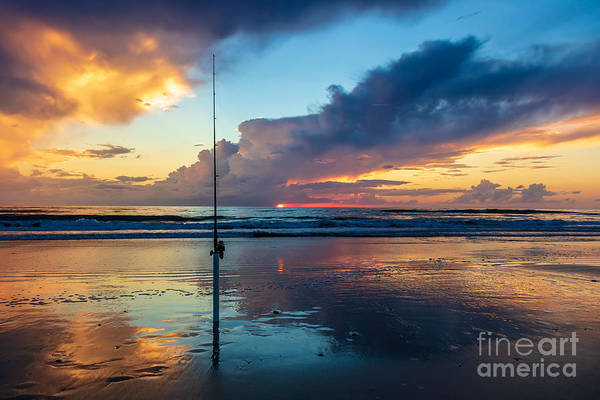 Fishing Art Print featuring the photograph Fishing And Watching The Sunrise by April Kaplan