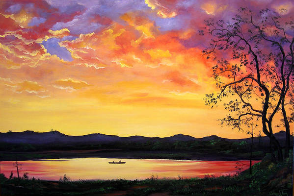 Connie Tom Art Print featuring the painting Fishing At First Light II by Connie Tom