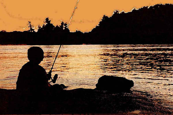 Landsape Art Print featuring the photograph Fishing From A Rock Ae by Lyle Crump