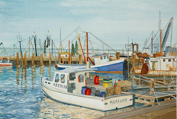 Boat Art Print featuring the painting Fishing Pier by Carolynn Fischel