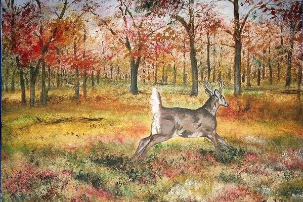 Fall Colors Art Print featuring the painting Flag by Debra Sandstrom