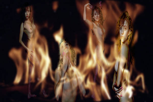 Multiple Exposure Of Model And Flames Art Print featuring the photograph Flame Nymphs by Richard Henne