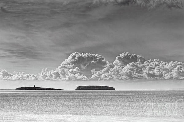 Flat Holm Art Print featuring the photograph Flat Holm And Steep Holm Mono by Steve Purnell