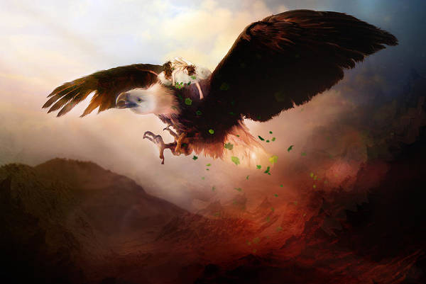 Children Art Print featuring the digital art Flight Of The Eagle by Mary Hood