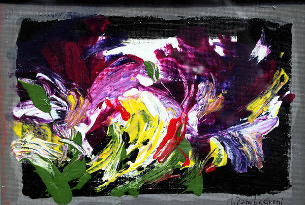 Abstract Art Print featuring the painting Floral Flow by Mario Zampedroni