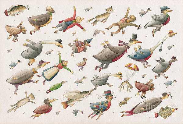 Sky Birds Flying Airplane Art Print featuring the painting Flying by Kestutis Kasparavicius