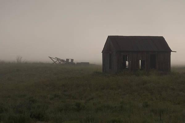 Abandoned Farm; Barn; Field; Fog; Haze; Horizontal; Silhouette Art Print featuring the photograph Foggy Morning by John Higby