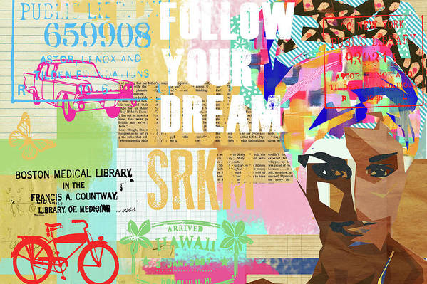 Follow Your Dream Art Print featuring the mixed media Follow Your Dream Collage by Claudia Schoen