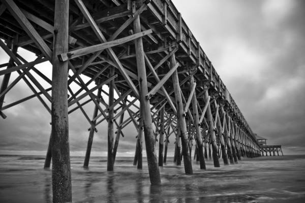 Folly Beach Art Print featuring the photograph Folly Beach Pier Black And White by Dustin K Ryan