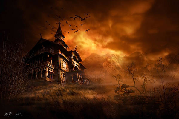 Abandoned Print featuring the digital art Forbidden Mansion by Svetlana Sewell