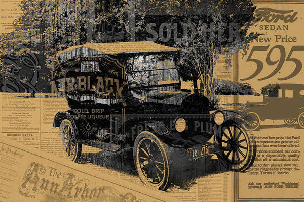 Ford Art Print featuring the mixed media Ford Model T Made Using Found Objects by Design Turnpike
