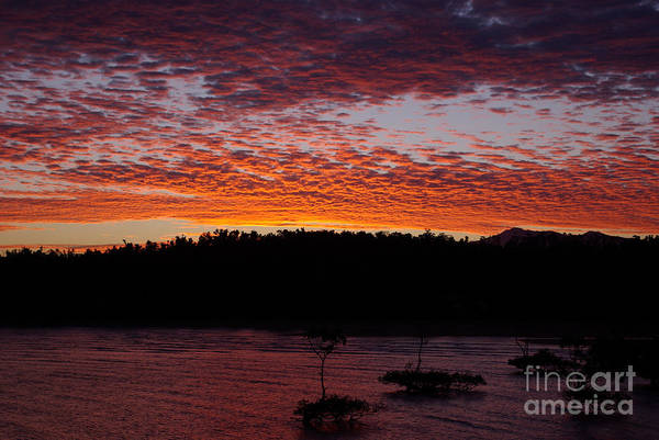 Landscape Art Print featuring the photograph Four Elements Sunset Sequence 2 Coconuts Qld by Kerryn Madsen - Pietsch