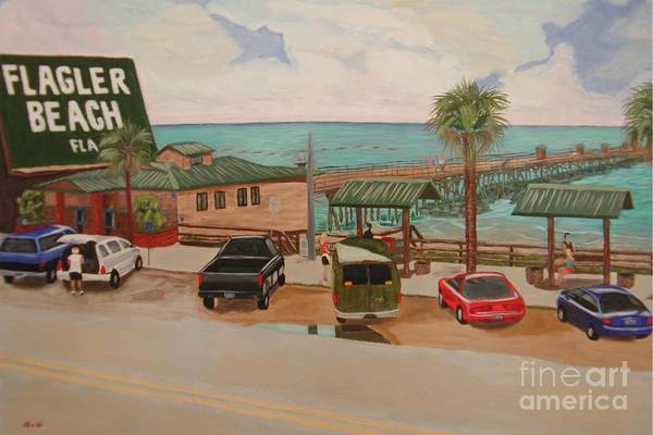Landscape Art Print featuring the painting Four Vignettes At The Pier by Sodi Griffin