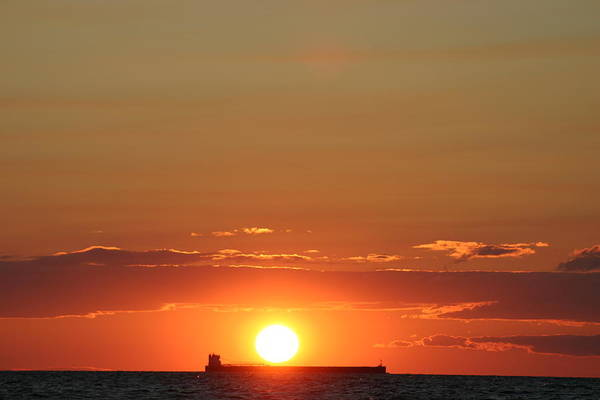 Sunset Art Print featuring the photograph Freighter Sunset by Kevin Dunham
