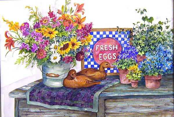 Watercolor;ducks;decoys;floral;mixed Bouquet;potted Plants;checkerboard;quilt; Art Print featuring the painting Fresh Eggs by Lois Mountz