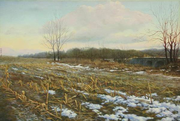 Landscape Art Print featuring the painting Frost by Stephen Bluto
