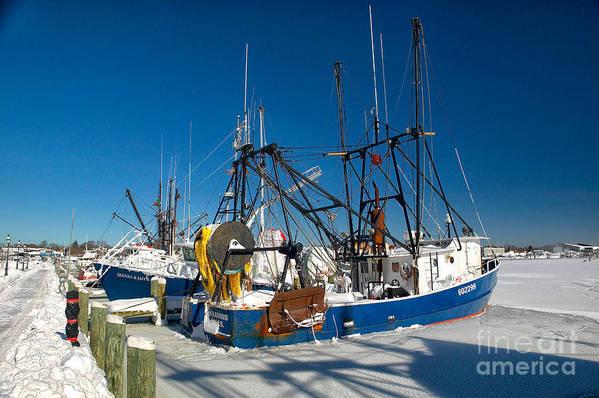 Winter Art Print featuring the photograph Frozen Hyannis Harbor by Matt Suess