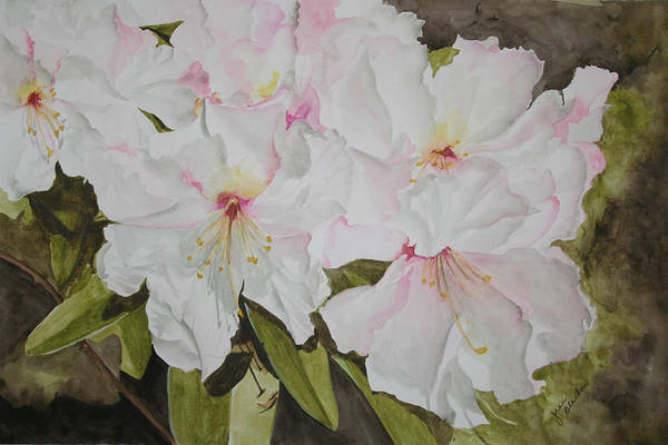 Flowers Art Print featuring the painting Full Bloom by Jean Blackmer