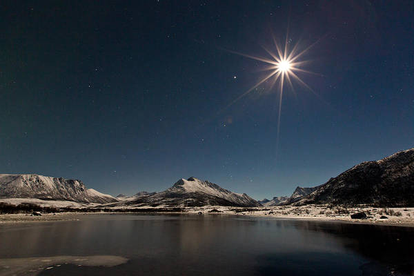 Landscape Art Print featuring the photograph Full Moon In The Arctic by Frank Olsen