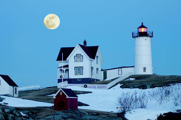 Coast Art Print featuring the photograph Full Moon Nubble by Greg Fortier