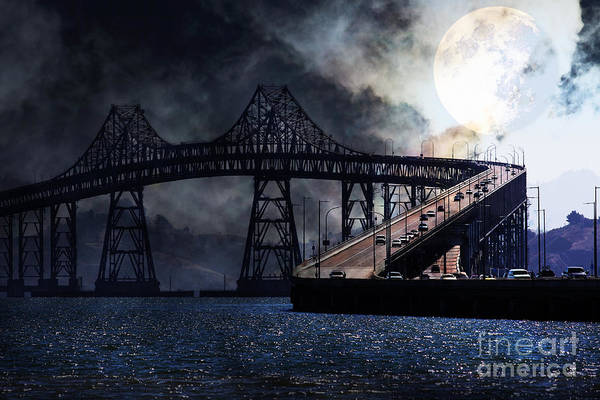 San Francisco Art Print featuring the photograph Full Moon Surreal Night At The Bay Area Richmond-san Rafael Bridge - 5d18440 by Wingsdomain Art and Photography