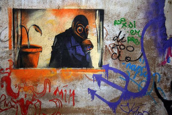 Graffite Art Print featuring the photograph Gas Mask by Bryan Hochman