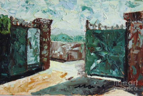 Gate Oil Canvas Art Print featuring the painting Gate2 by Seon-Jeong Kim