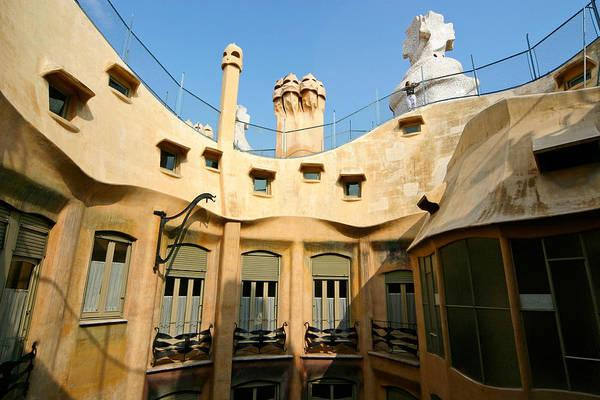 Pedrera Art Print featuring the photograph Gaudi La Pedrera Barcelona Spain by Mathew Lodge