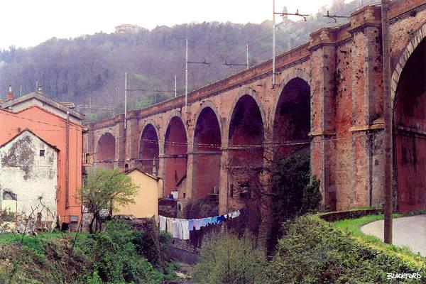 Genoa Art Print featuring the digital art Genoa Railroad Bridge by Al Blackford